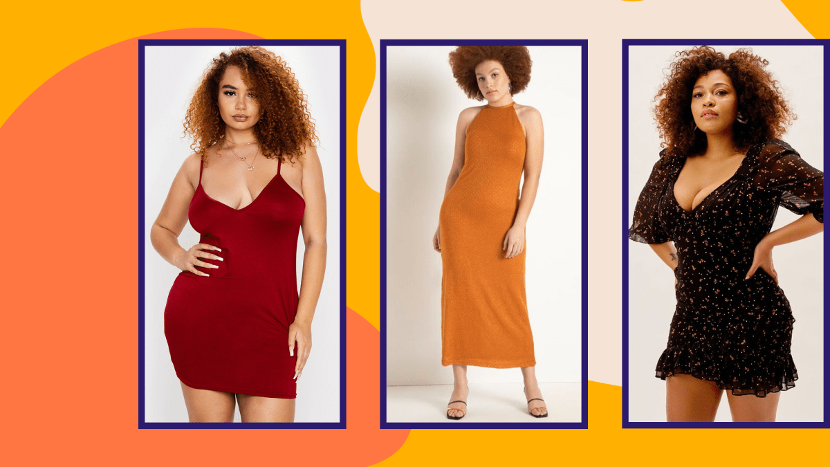 A model wearing a red plus-size mini dress, a model wearing an orange plus-size maxi dress, and a model wearing a plus-size floral mini dress.
