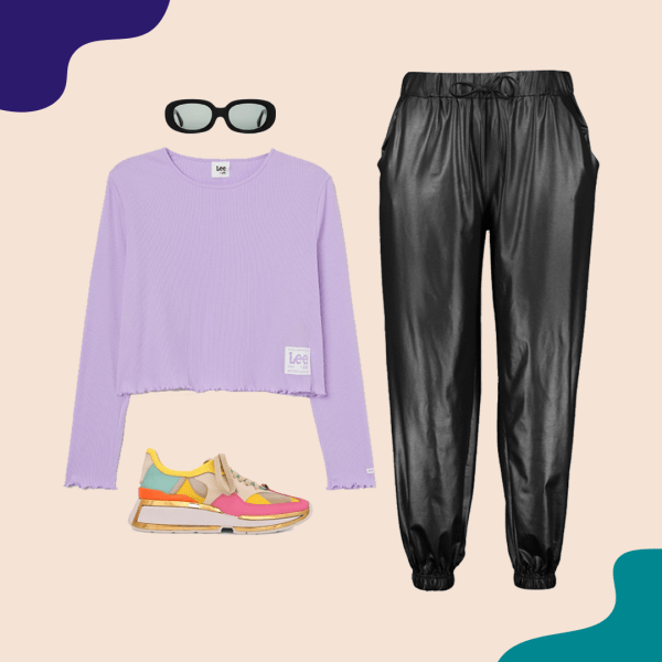 A purple t-shirt, leather pants, colorful sneakers, and black sunglasses.