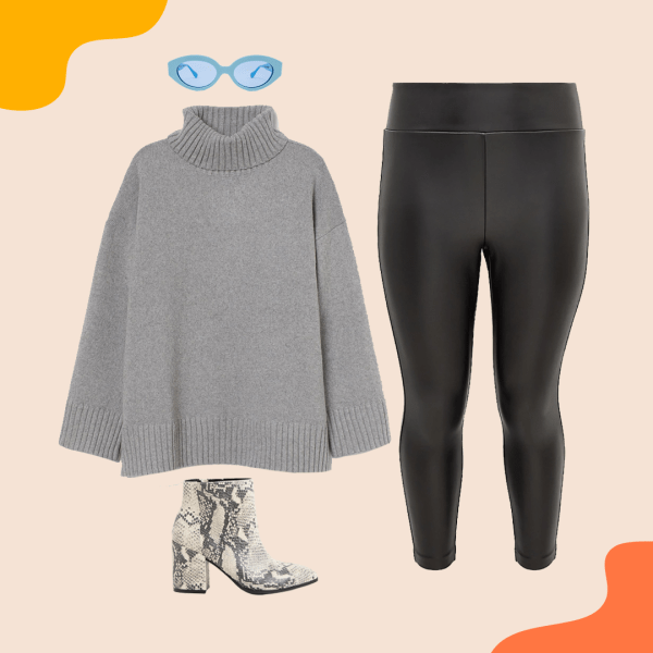 A gray sweater, leather pants, booties, and blue sunglasses.