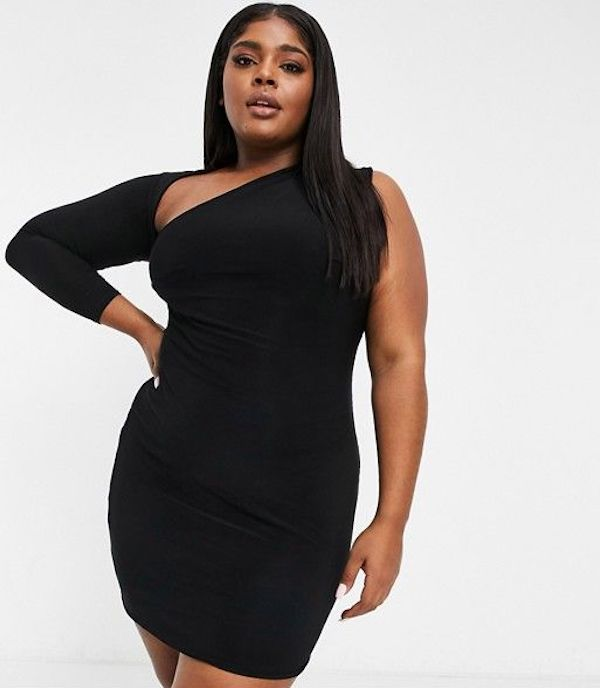 A model wearing a plus-size one-shoulder dress in black.