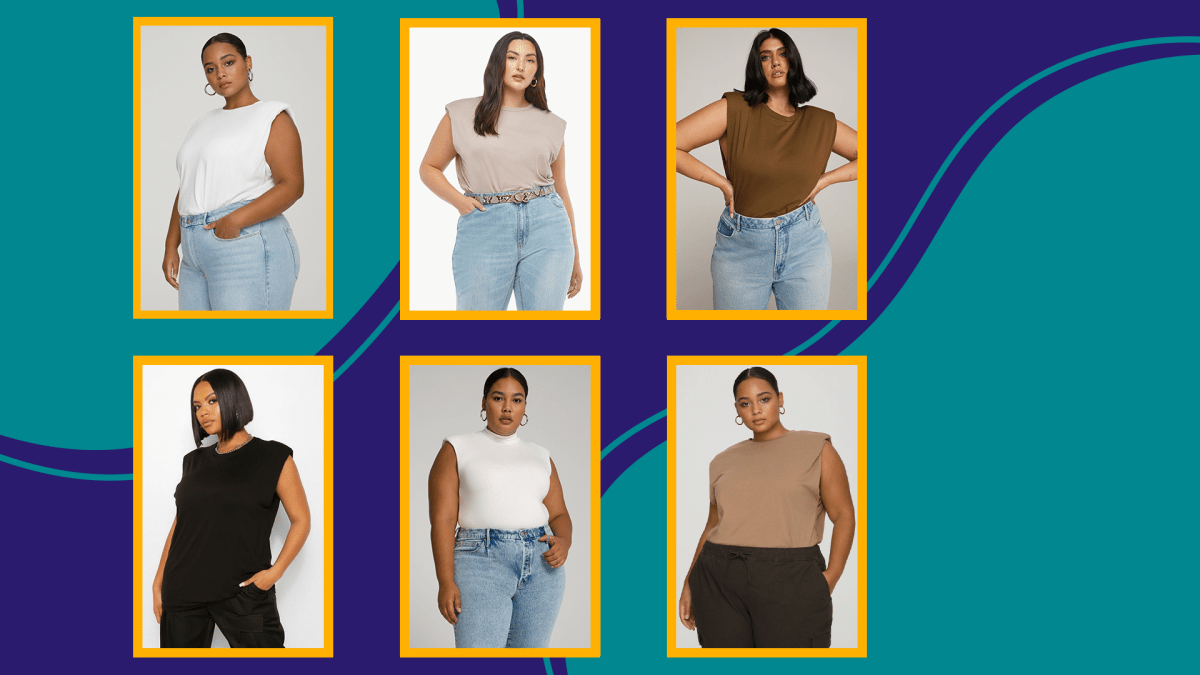 Six models wearing plus-size shoulder tank t-shirts.