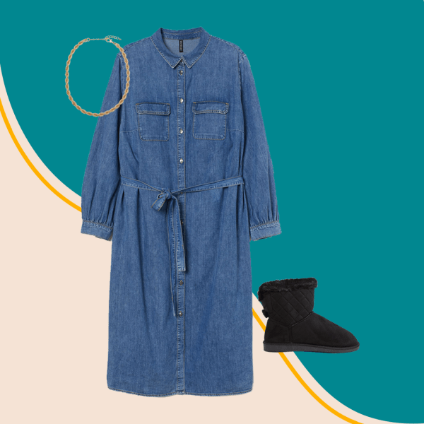 A collage with a denim dress, gold necklace, and slippers.