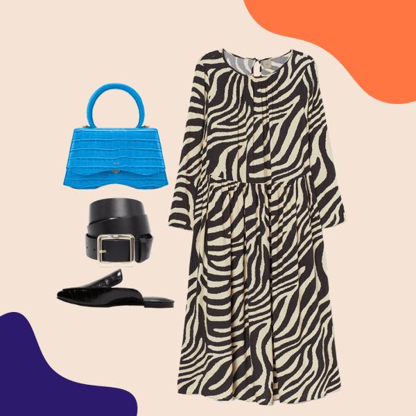 A collage with a zebra print dress, blue purse, black mules, and a black belt.