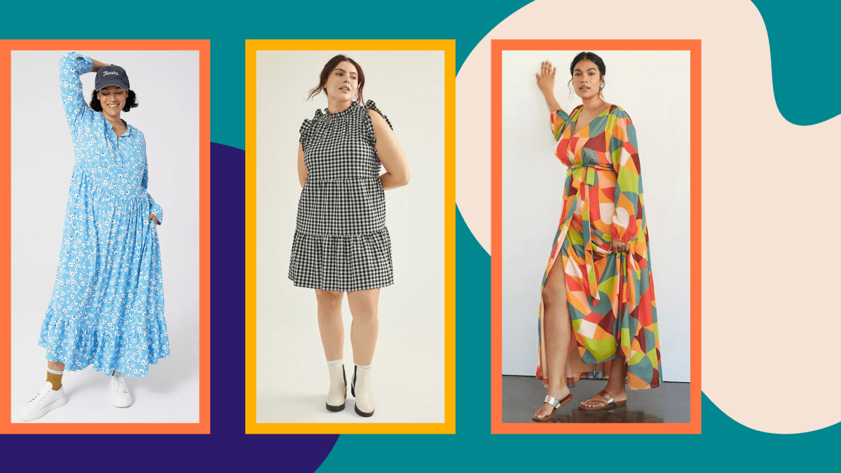 Three models wearing plus-size spring dresses from Anthropologie.