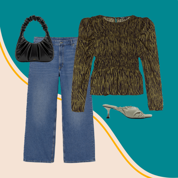A collage with jeans, a green zebra print top, black purse, and green heels.