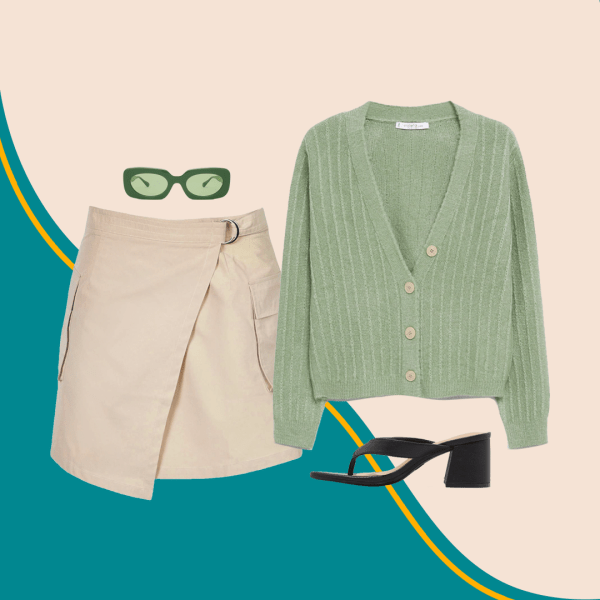 A collage with a green cardigan, khaki skirt, green sunglasses, and black heels.