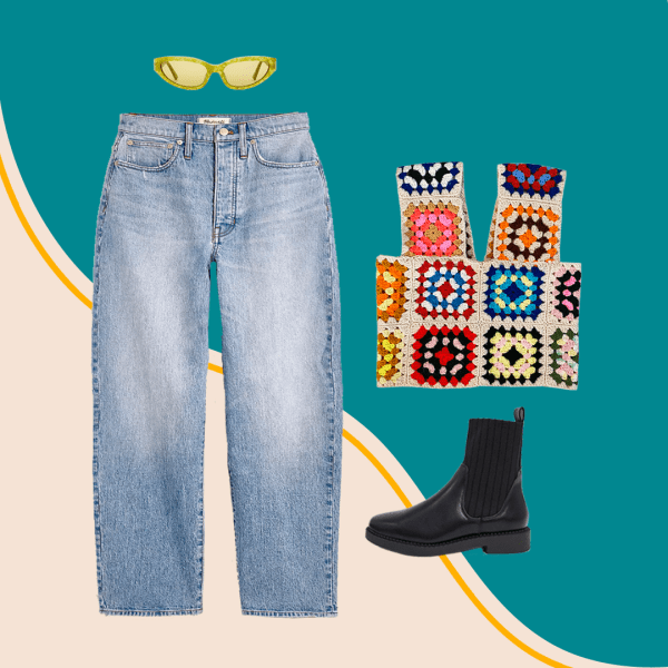 A collage with jeans, a patchwork tank top, green sunglasses, and black booties.