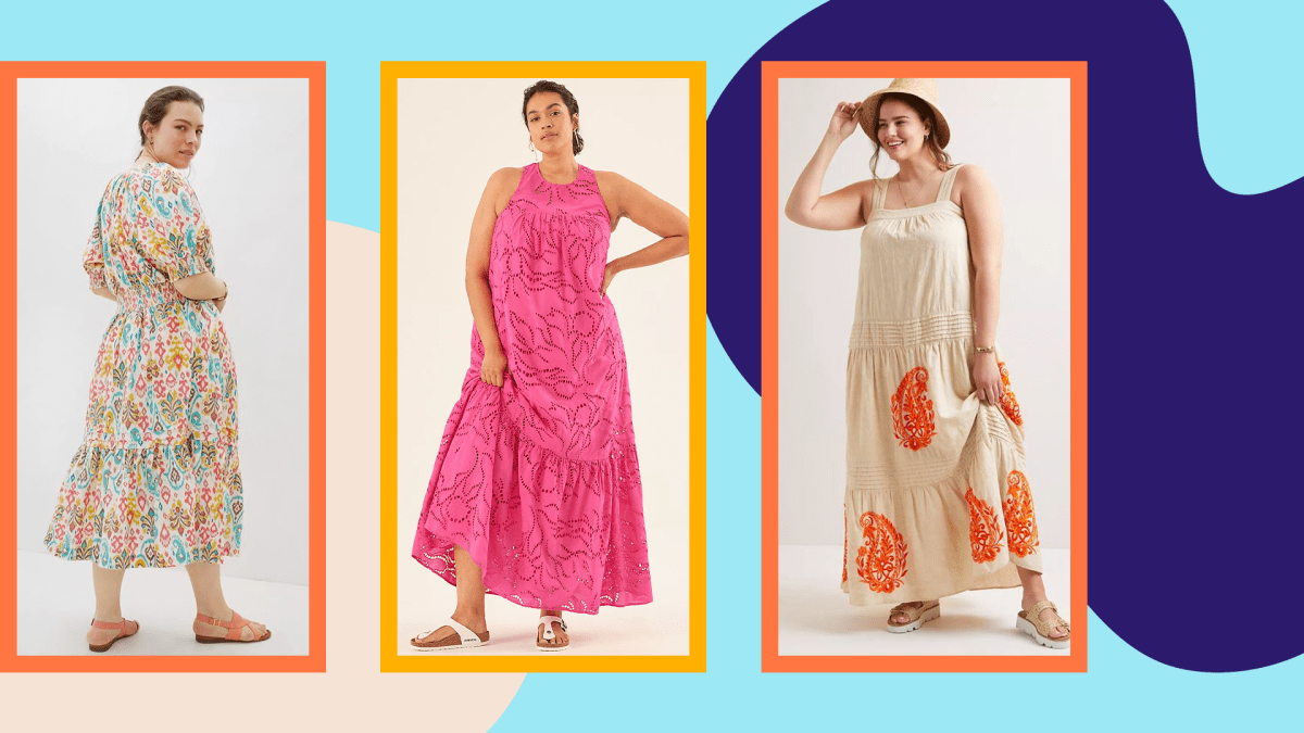 Three models wearing plus-size maxi dresses from Anthropologie.