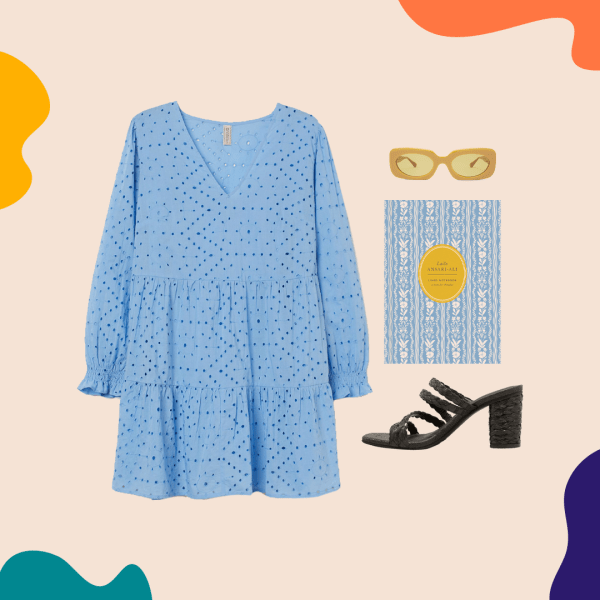 A collage with a blue dress, yellow sunglasses, black heels, and a blue notebook.