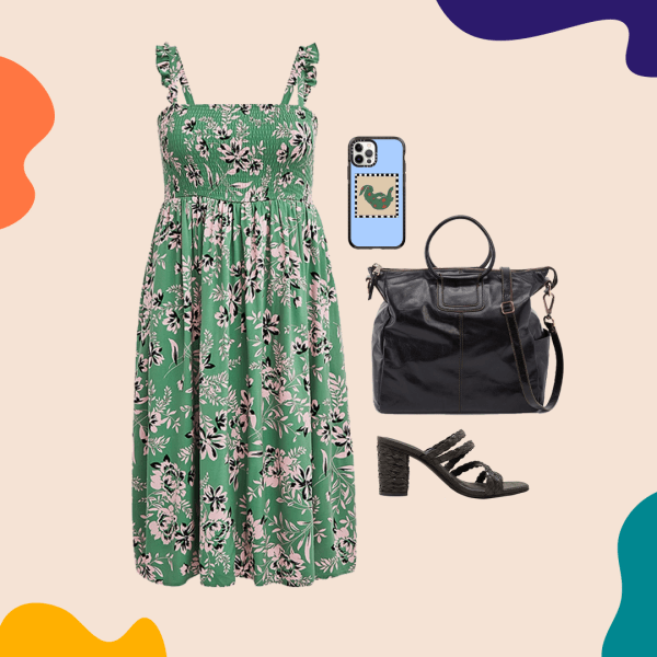 A collage with a floral dress, black heels, black bag, and a phone case.