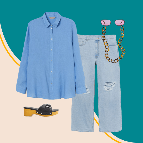 A collage with a blue button-down, jeans, black and brown heels, tortoise sunglasses chain, and pink sunglasses.
