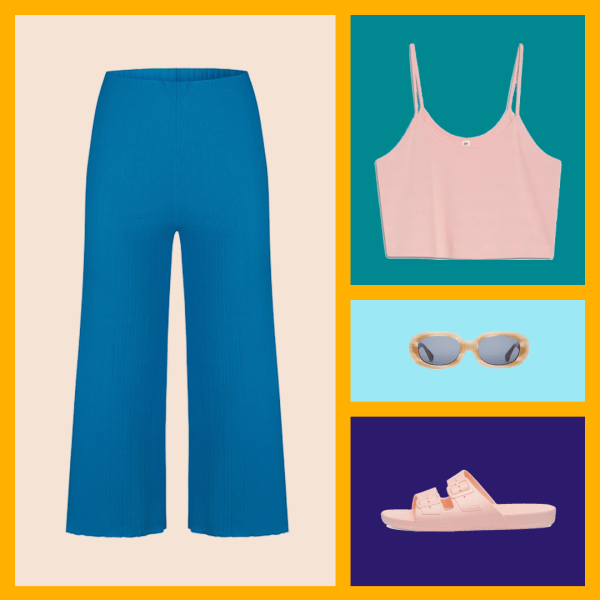Blue pants, a pink tank top, cream sunglasses, and pink slides.