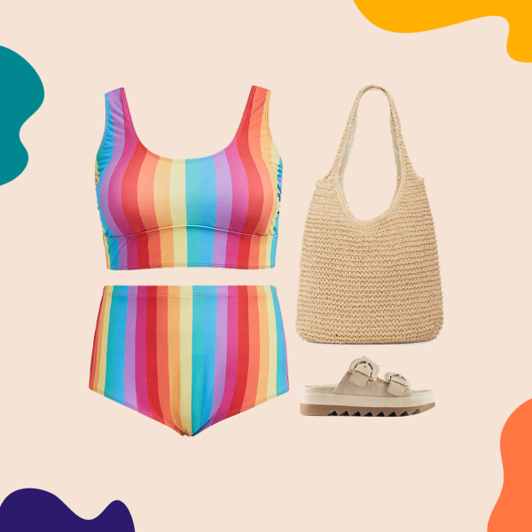 A collage with a rainbow bikini, straw bag, and tan sandals.