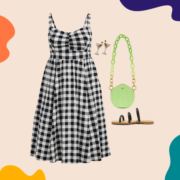 A collage with a gingham dress, green purse, black sandals, and martini earrings.