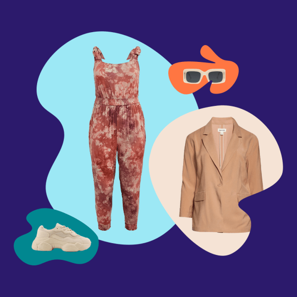 A lounge jumpsuit, blazer, sunglasses, and sneakers.