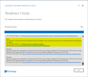 Exchange 2016 on Windows Server 2016 - Readiness Checks Failing