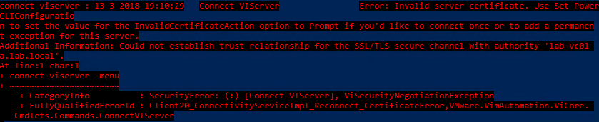 PowerCLI 10.0.0 - 01 - Certificate Error
