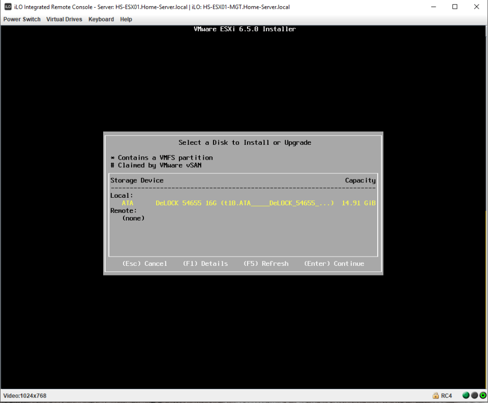 VMware ESXi Installation detects SATADOM