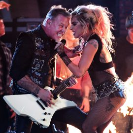 LOS ANGELES, CA - FEBRUARY 12: Recording artists James Hetfield (L) and Lady Gaga perform onstage during The 59th GRAMMY Awards at STAPLES Center on February 12, 2017 in Los Angeles, California.   Kevork Djansezian/Getty Images/AFP