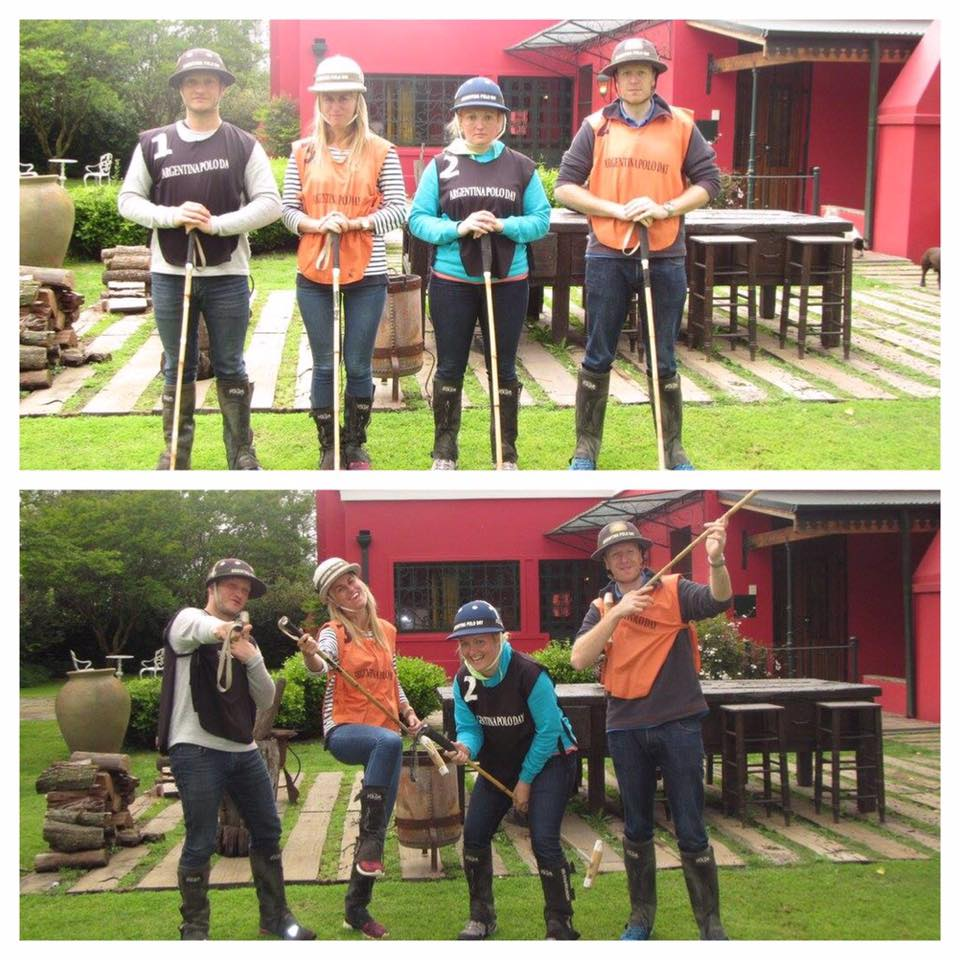 Photo of the 4 guests fooling about with the polo sticks.