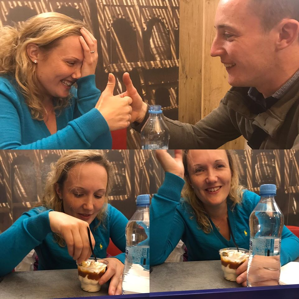 Three photos of a very drunk Bea dipping chips in ice cream!