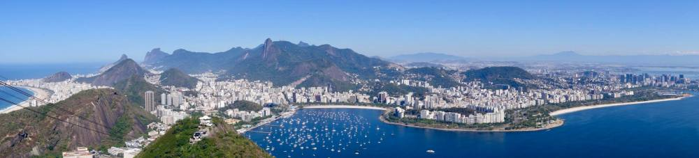 Panoramic view of the sprawling city of Rio from the summit of Sugarloaf Mountain
