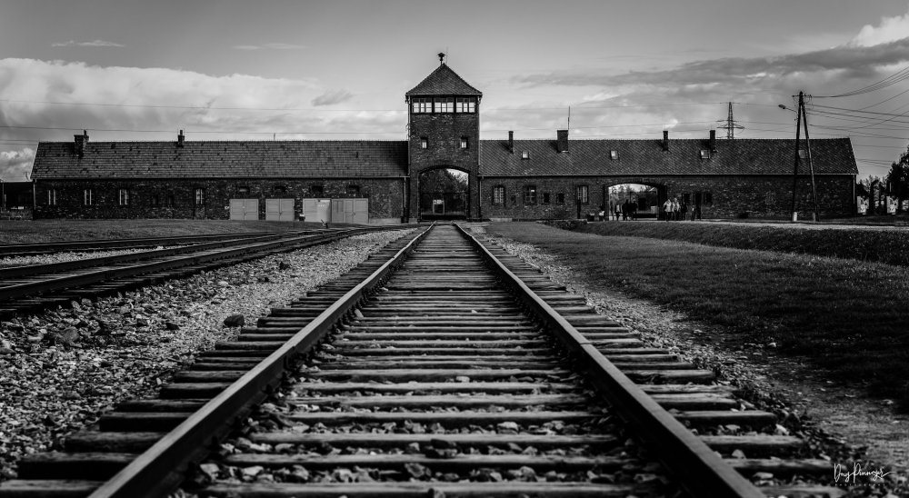 Photo of train tracks leading up to Auschwitz II- Bikenau