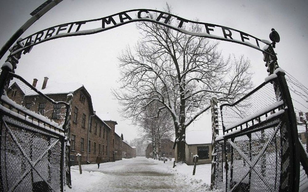 "Image of the open gates leading into Auschwitz with the now famous slogan of  Arbeit macht frei ""Work will set you free"""