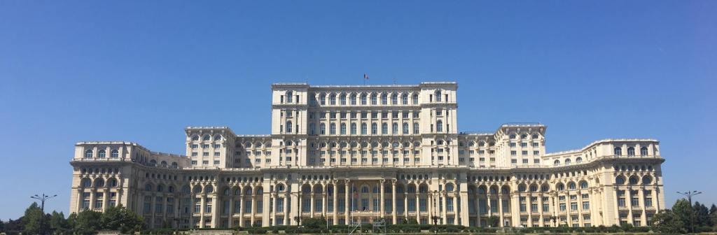 Oversized parliament building in Bucharest, Romania
