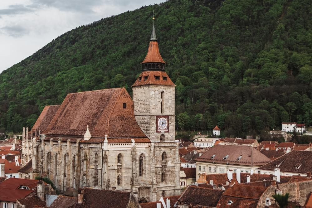 Impressive church towering above the city of Brasov