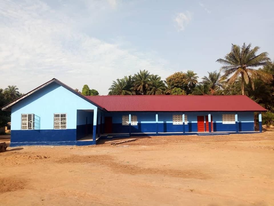 Image of the school, built complete, now waiting to be furnished.