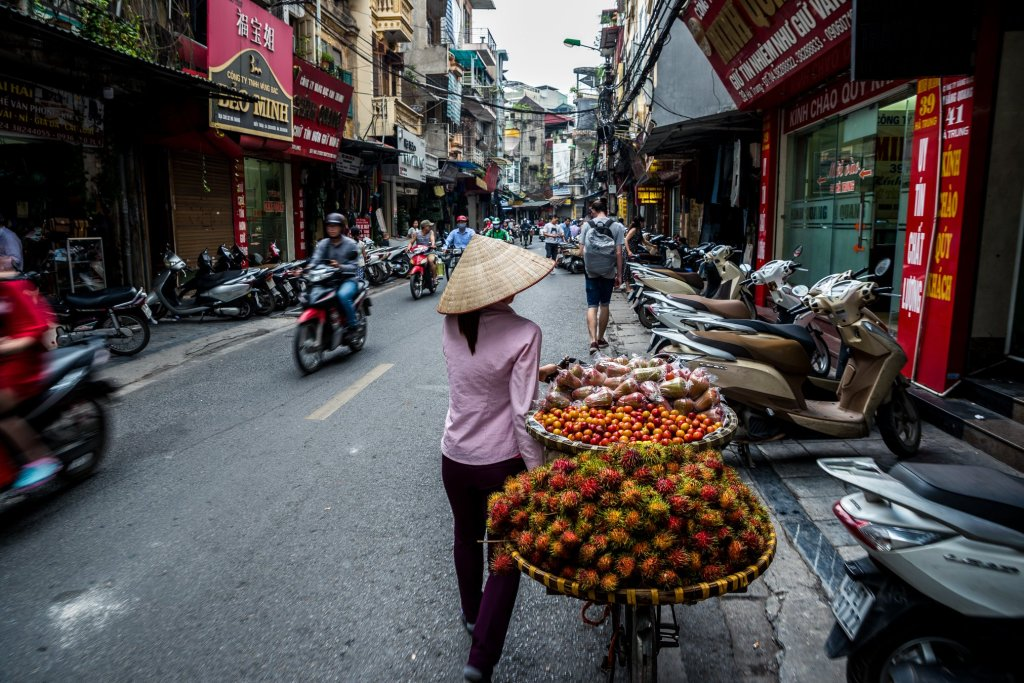 It is in the old quarter of Hanoi that you will find bikes loaded with fruit as the ladies try and earn a living for the day