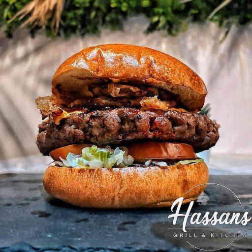 Juicy burger from Hassan Grill in Moreton in Marsh