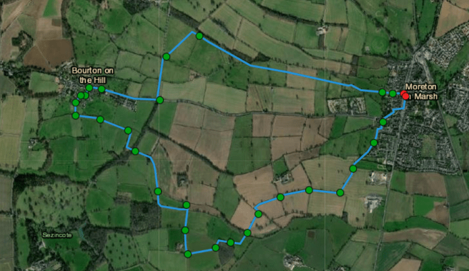 Route to walk from Moreton to Bourton on the hill