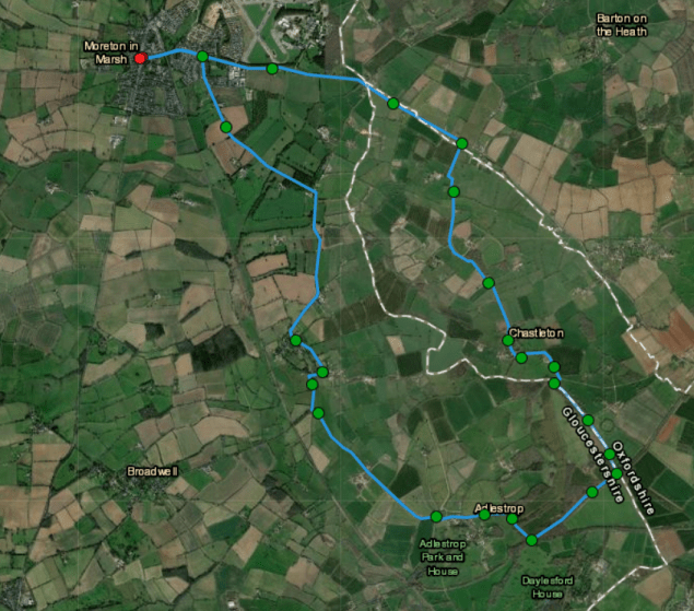 Cotswold Map showing bike route from Moreton in Marsh to Chastleton via Evenlode