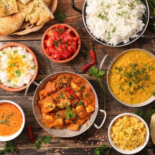 A selection of curries and rices from Raj Mahal