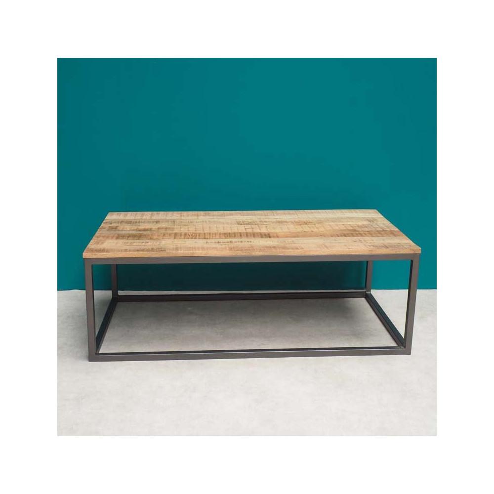 table basse metal et bois