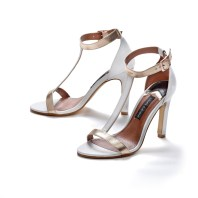 White and gold T-Bar sandal £69 La Redoute