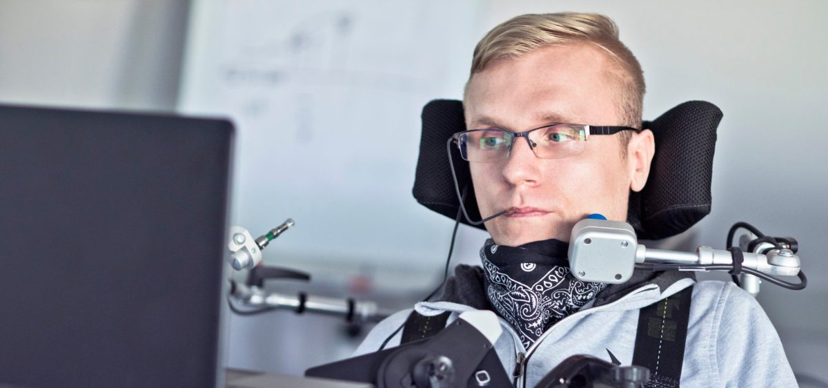 man using assistive technology to view website