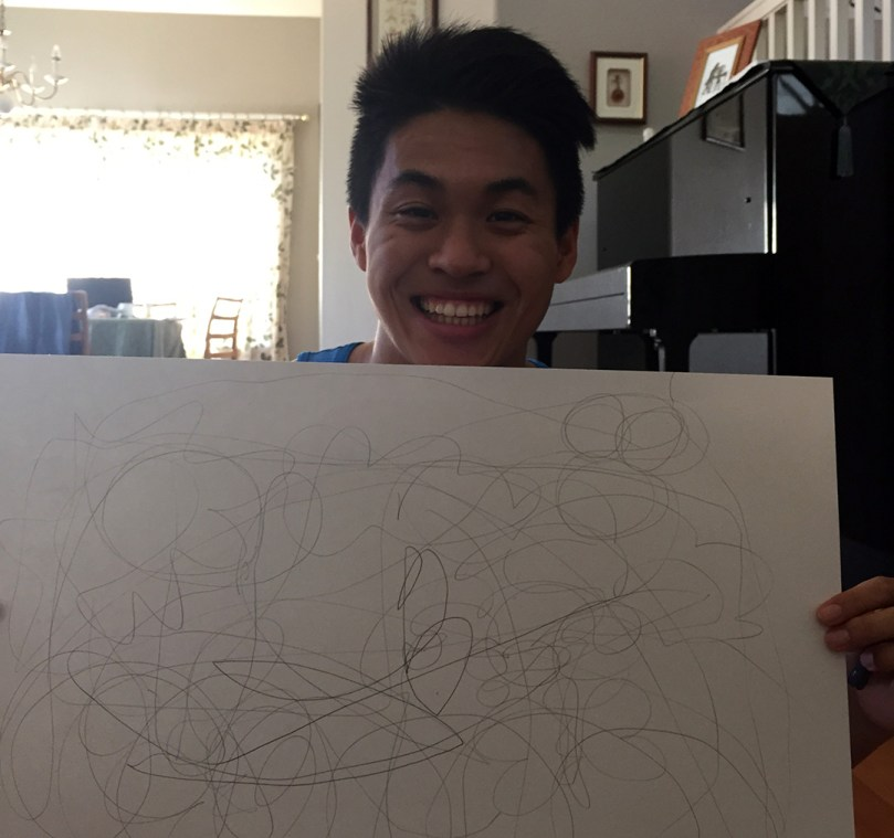 Raymond Poon shows his abstract drawing