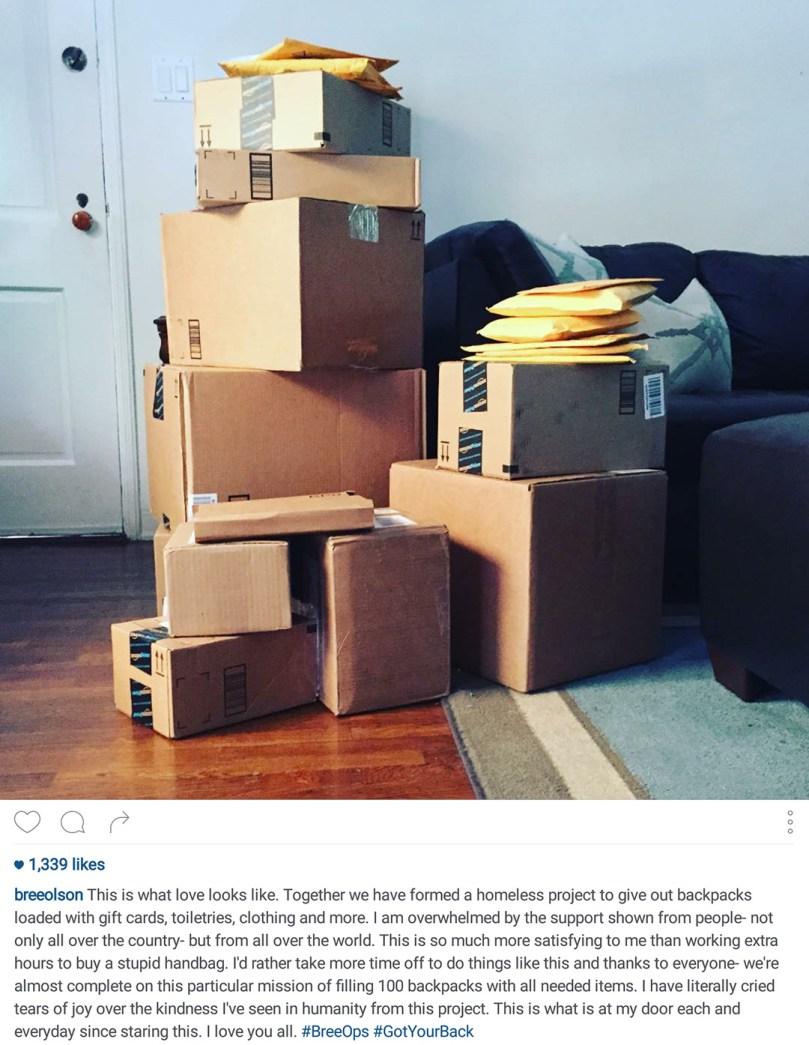 Instagram of Amazon.com packages at Bree Olson's door