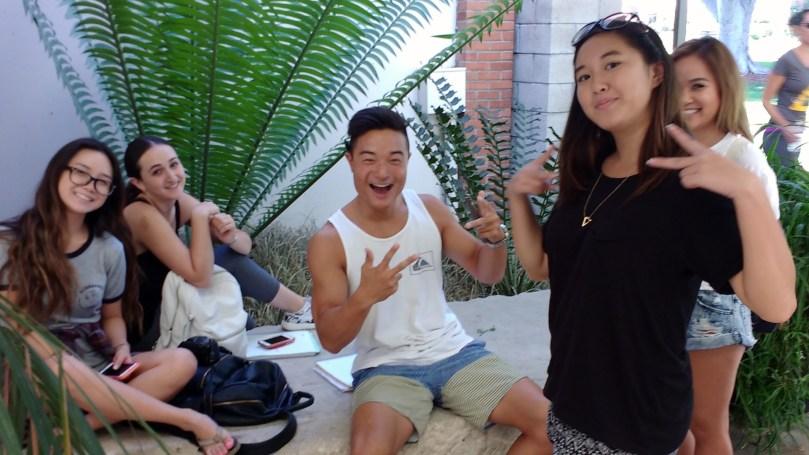 Art 110 students at the CSULB School of Art (SOA) Art Gallery Courtyard