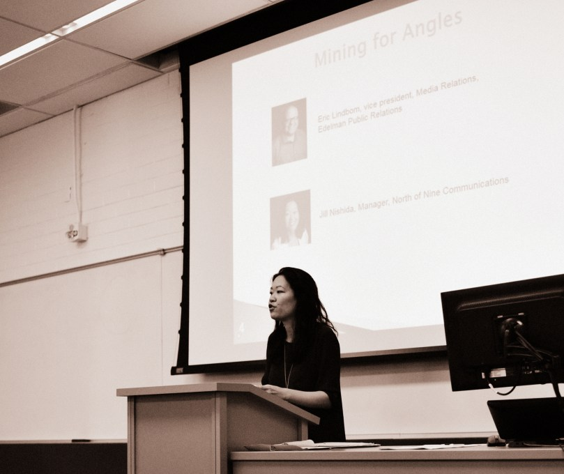 Jill Nishida, Manager, North of Nine Communications, speaking to Public Knowledge: Media Training Workshop on the CSULB campus, LA4-120, Saturday 17 Sept 16