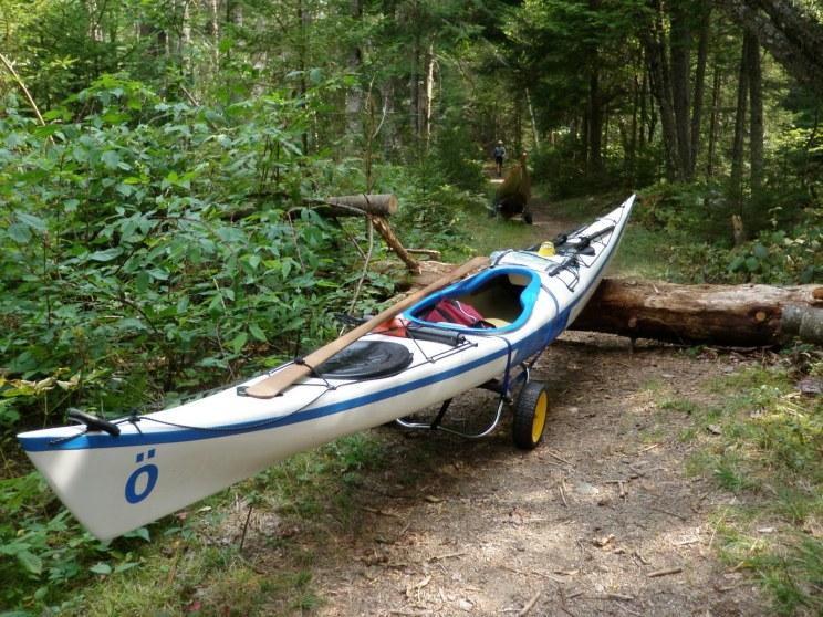 portage with touring kayak