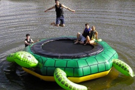 turtle trampoline water toy island hopper