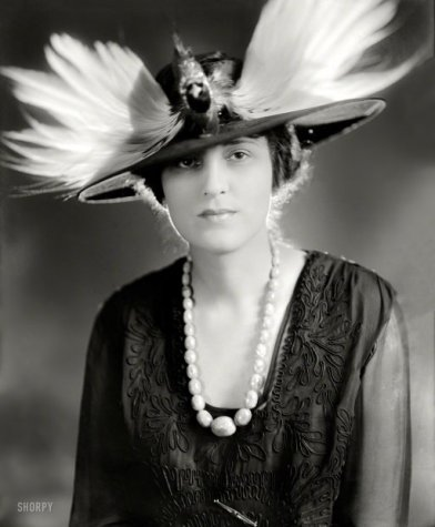 19th century woman feathered hat