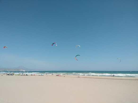 San Juan Beach, sea in background, Kites on the sky