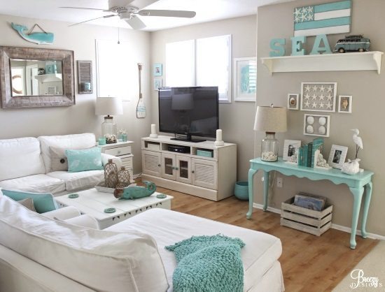 Beach TV Room Idea in Aqua Blue