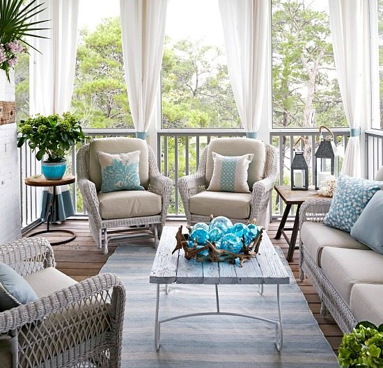 Elegant home that abounds with beach house decor ideas - Fresh blue deck furniture design ideas for relaxing outdoor rooms ...