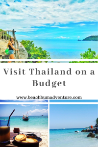 Pinterest Graphic for visiting Thailand on a Budget with photos of national parks and islands